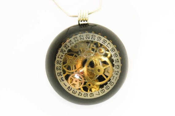 Steampunk Pendant / Necklace Clock and Watch Parts in Resin Dome, Black, Cogs, Gears, Cyborg Eye,  Hand Made , Unique