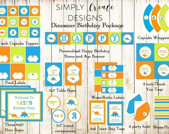SALE Dinosaur Party Package Printable DIGITAL Party