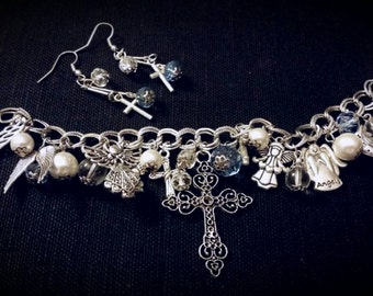 After Life Accessories Handmade Angels and Cross Blue and Silver Charm Bracelet with Matching Earrings