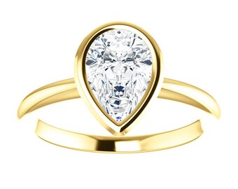 "Moissanite Engagement Ring - 14K Gold Pear, ""Forever Brilliant"" Gemstone, Made to Order, rose gold,white gold,yellow gold"