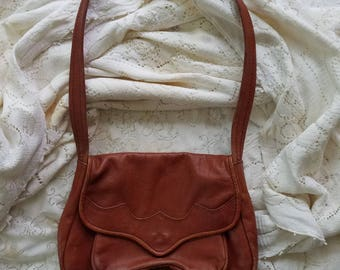 Vintage purse, Over the shoulder bag, Leather handbag, Light Brown purse, Leather Purse- Made in Colombia