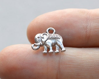 10 Tibetan Elephant #CH143 Antique Silver Charms-Elephant Jewelry Charms-Antique Silver Jewelry Supplies-Alloy Metal Loose Charms-Findings