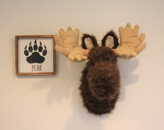 Moose Head Nursery Decor Wall Mount - Woodland Nursery Decor Plush - Mountain Nursery Stuffed Moose Head - by JoJo's Bootique