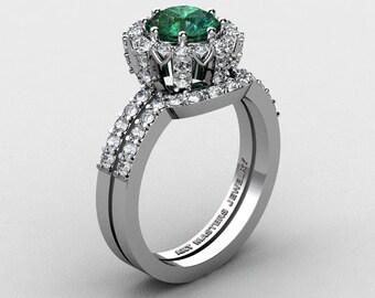 French 14K White Gold 1.0 Ct Chatham Emerald Diamond Engagement Ring Wedding Band Set R408S-14KWGDCEM
