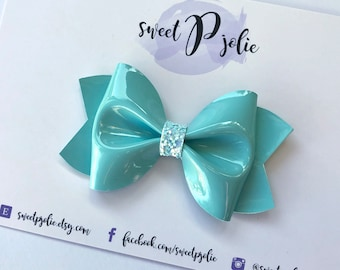 Aqua Blue Faux Patent Leather Hair Bow // Teal Pastel Hair Clip Headband // Spring Large Girls Newborn Baby Toddler Mini Bow