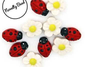 10 - Small - Ladybug & Daisy Beads - Flower Beads - Novelty Beads - Ceramic