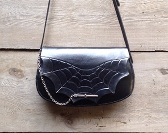 Spiderweb Purse with Strap solid black handmade tooled leather