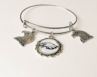 Silver Eagle charm bangle bracelet/