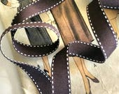 Brown and White Grosgrain...