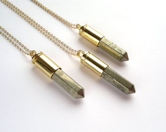 Fluorite bullet necklace fluorite bullet pendant rainbow pyrite bullet necklace gold pyrite bullet pendant pyrite jewelry boho necklace gold pyrite layering necklace mineral jewelry fools gold aloadofball