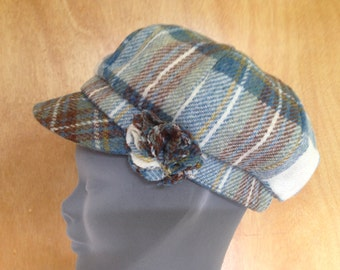 Ladies Newsboys Cap Hat - 100% Tweed Wool - Donegal Tweed Hats - Womens Irish Bakerboy Hats - Newsboy Cap - Tartan