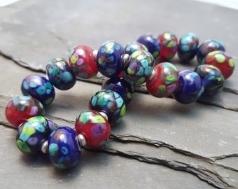 Lampwork Glass Bead Stretch Bracelet - Bright, Speckled, Handmade with Silver tone or Sterling Silver accent beads