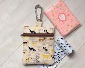 Dog treat bag, Dog walking bag, dog lover gift, Dog training bag, Dog coin purse, zipper pouch, Japanese fabric pouch