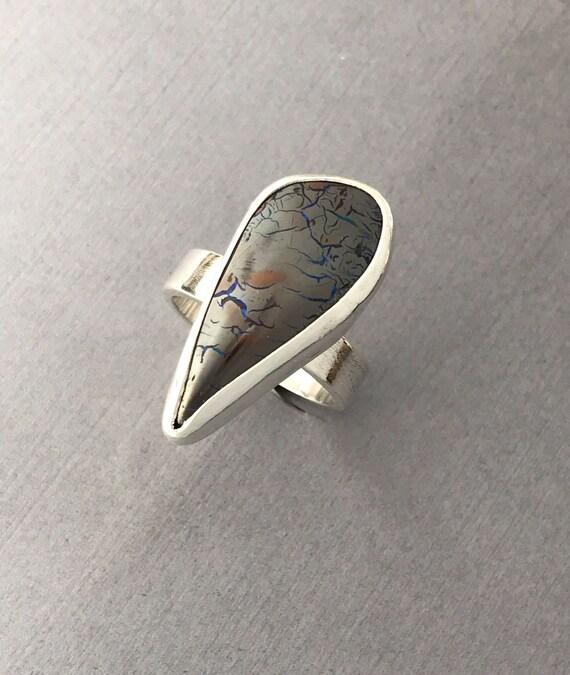Boulder Opal , ring, hand textured , handmade , size 9-1/4