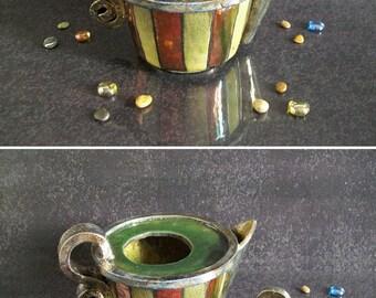 raku pottery decorative teapot, collectible teapot, ceramic teapot, woodstove humidifier, raku teapot, handmade teapot, woodstove steamer