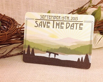 Appalachian Rolling Hills Save The Date with Couple Carrying a Canoe Craftsman Get Started Deposit or DIY Payment