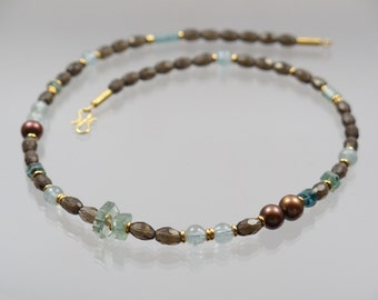 Smoky quartz necklace aquamarine tourmaline beads 585 / - unique forged master work