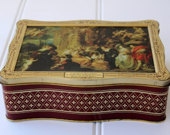 Vintage Tin - Rubens Painting - Tin with Lid - Red Gold English Tin - London The Broadway Soaps