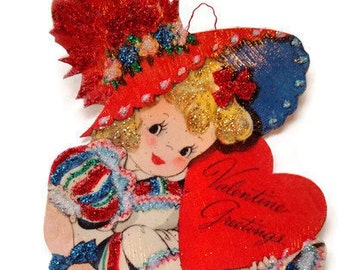 Valentine's Day Ornament Decoration, Vintage Card Imagery Red Glitter Sparkles, Retro Party Heart Girl Recycled Handmade OOAK Ephemera Gift