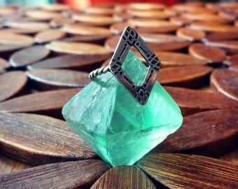 Size 5.75 Geometric Open Diamond Shape Stamped Sterling Silver Ring Boho Bohemian