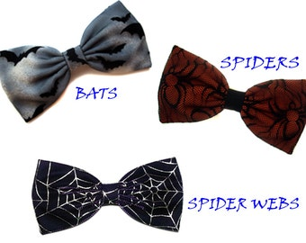 Dark Skies Halloween Bats Hair Bow- Spiders and Spider Webs Hair Bow- Costume-