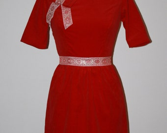 1960s 60s Dress Red Velveteen Holiday Christmas Party Red Velvet Mini Elbow Sleeves Bow Jackie O Style Size S Small