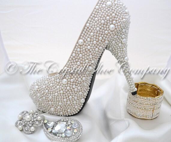 Wedding High Heels Ivory: Swarovski Pearl Ivory Cream Encrusted Wedding Bridal High Heel