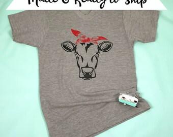 Heifer Cow Red Bandana Womens Girls Livestock Show Shirt 4H FFA Cow Lovers Gift Farm Life Shirt County Fair Tee Made and Ready to Ship