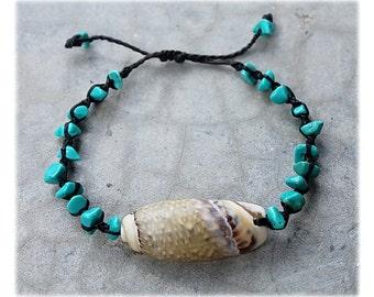 Beach Shell Bracelet with turquoise split beads, Lettered Olive Bracelet, Beach Bum Bracelet, Sea Shell Bracelet