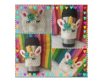 Unicorn Coffee Cozy/ Crochet Unicorn Coffee Sleeve/ Reusable Coffee Sleeve/ Ready to Ship