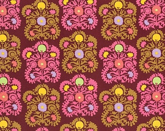 Gypsy Embroidery Plum - Dream Weaver - Amy Butler - 100% Quilters Cotton Available in Yards, Half Yards and Fat Quarters