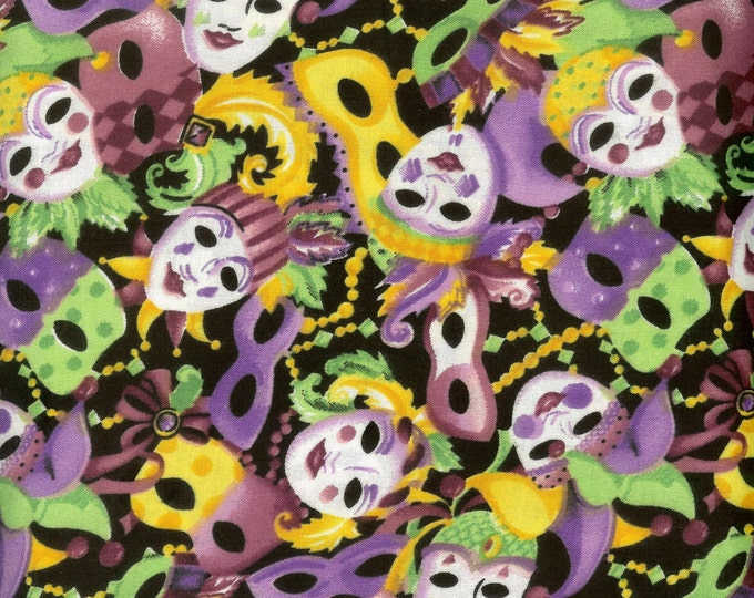 Mardi Gras Masks 100% cotton fabric, sold by the yard