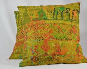 "Vintage Pillow Cover, Linen Pillow Cover, Tribal Pillow, Green Pillow, Throw Pillow, Home Decor Pillow, Boho Pillow - 16"" - PC42"