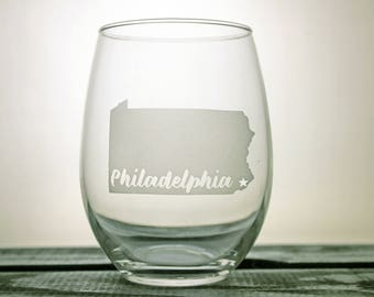 Philadelphia Glass - Wine Glass - Pennsylvania - State Pride - City Love - Gift Ideas - Gifts for Him - Gifts for Her - Personalized