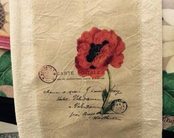 French poppy postcard floursack tea towel