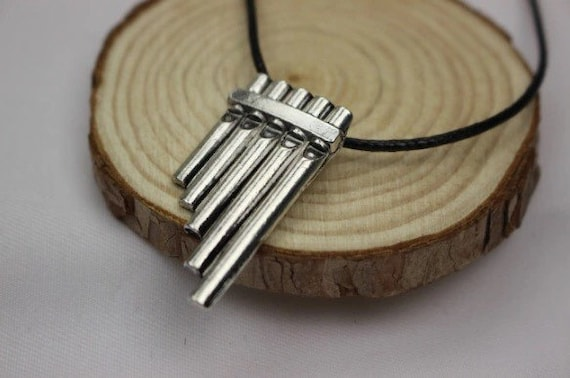 Peter Pan inspired pan flute necklace Pan flute silver plated