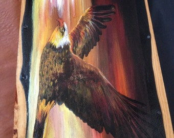 "Painting on leather ""Flight of the Eagle"""