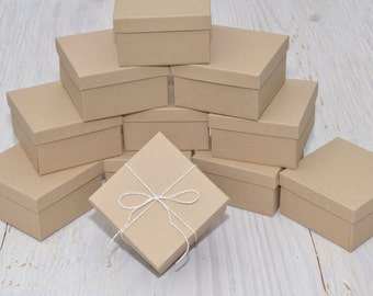 100 Pack 3.5x3.5x2 Deep Jewelry Favor Boxes Kraft Square with Cotton Fill Gift Box