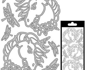Decal stickers - Unicorn - matte silver 7 x 6 cm