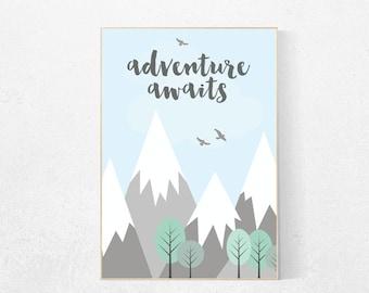 Adventure awaits, adventure nursery decor, mountain nursery decor, travel quote print, nursery wall art, new baby gift, kids room decor
