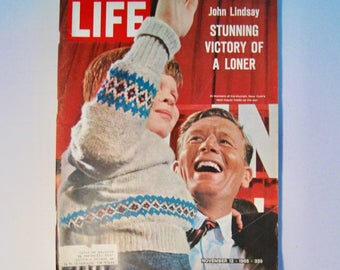 Life magazine November 12, 1965. Complete magazine with ads, articles. The election of John Lindsay. Vintage Mid Century history.