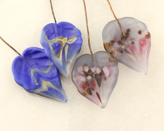 Lampwork Headpins, Glass Leaf Head Pins,  Headpin on 20Ga Antique Copper Wire, Matte Blue, Lavender