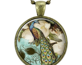 Peacock Necklace, Victorian Style Peacock Jewelry Glass Art Pendant, Esoteric Jewelry (0857B25MMBC)