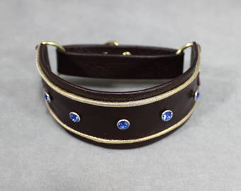 Oxblood Red, Gold, and Sapphire Swarovski Crystal Leather Martingale Dog Collar