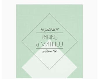 Wedding invitations - Green Diamond