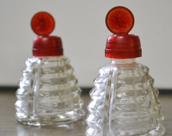 Vintage Salt & Pepper Shaker Set with Red Flip-Tops