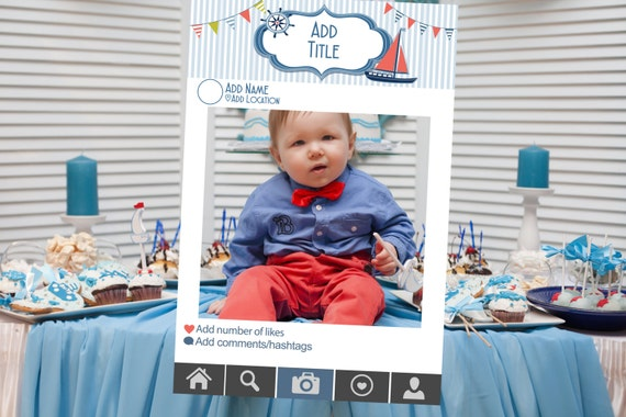 Nautical Themed Photo Booth Frame Baby Shower Birthday