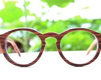 Zebra Wood Round Takemoto Thanks Handmade Glasses With Wood Box