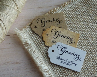MINI TAGS Gracias Tags, Spanish Thank You Tags, Custom Wedding Tags, Favor Tags. Bridal Tags. Quinceanera Tags. Set of 25 to 300 pieces