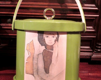 Vintage Green Insulated Ice Bucket 1960's